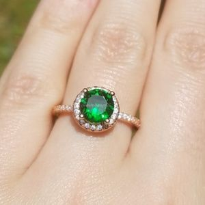 Rose Gold Round Emerald Halo Engagement Ring